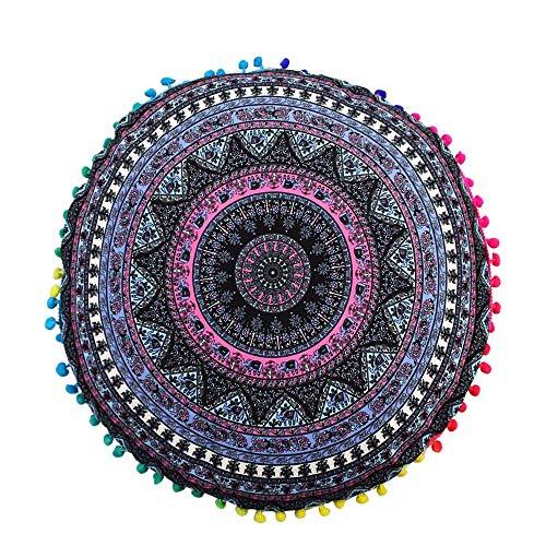 SOOTOP Pillowcases Square Indian Mandala Floor Pillows Round Bohemian Decorative Cushion Pillows Cover Case Cushions for Sofa Bedroom Car