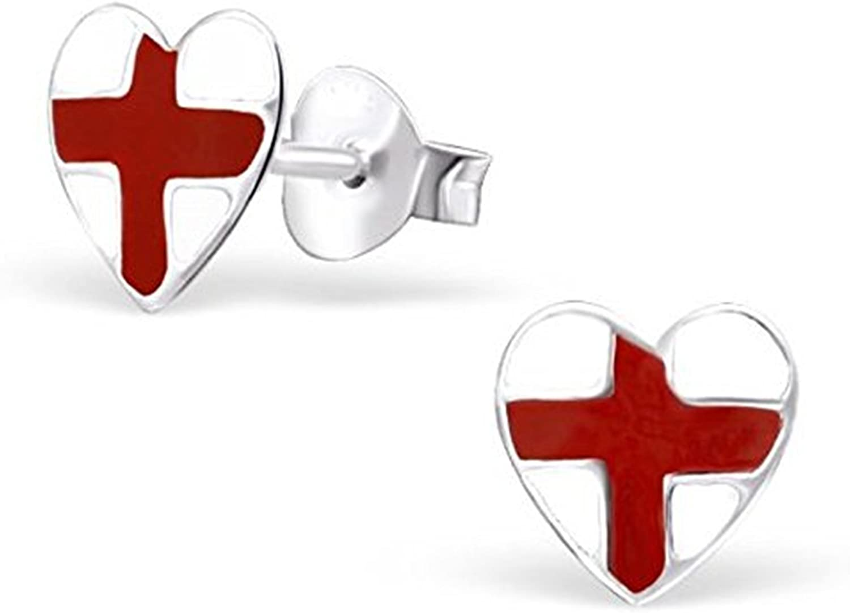 Pendientes de tuerca con la bandera de Inglaterra en forma de corazón de auténtica plata de ley: Amazon.es: Joyería