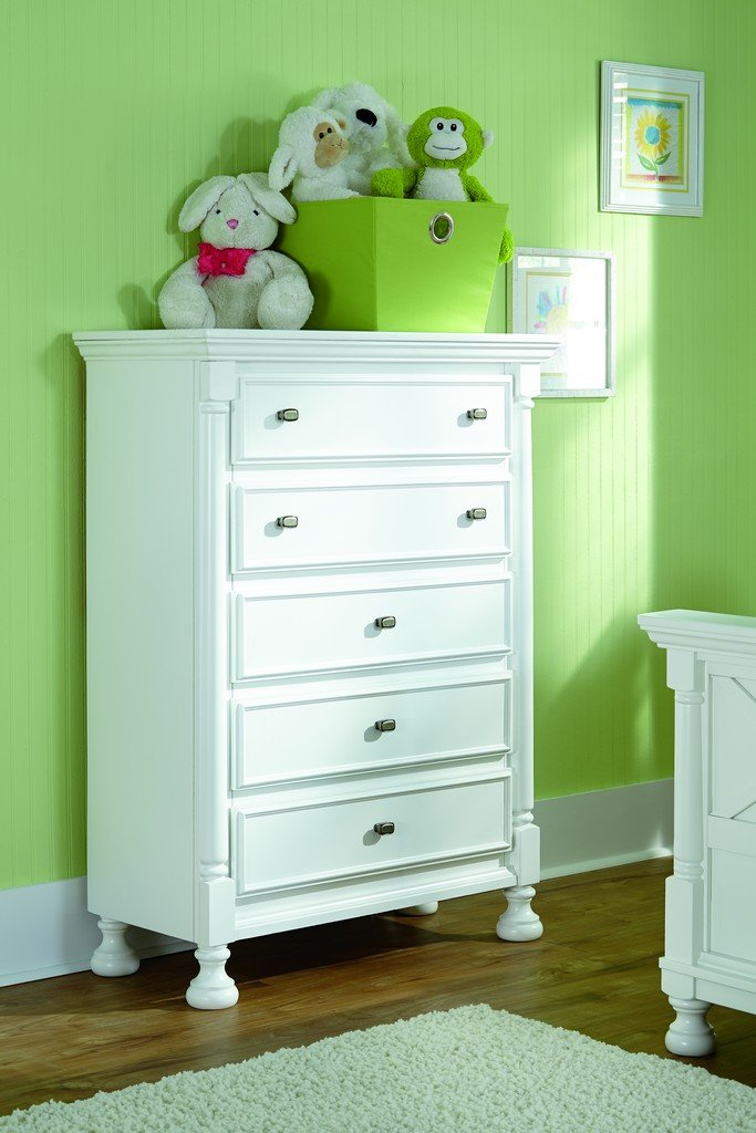 Ashley Furniture Signature Design - Kaslyn Chest of Drawers - 5 Drawers - Youth Casual - Country Cottage Style - White