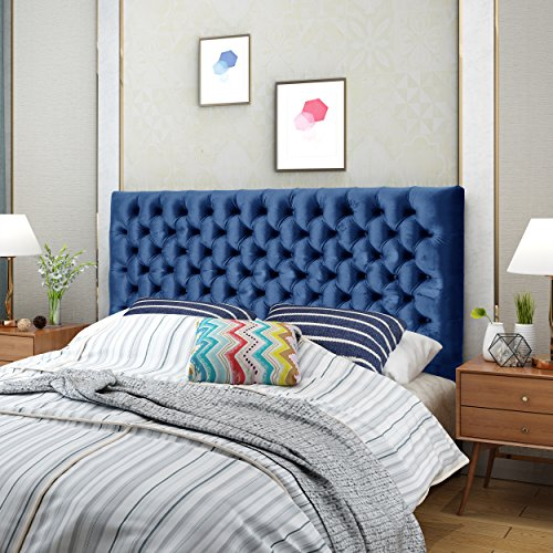 Christopher Knight Home Jezebel Headboard, Navy Blue and Black Steel (Headboard Velvet Navy)
