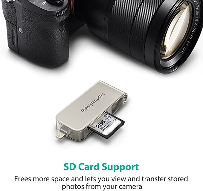 RAVPower iPhone Flash Drive 64gb 2 in 1 with SD Card Reader, Photo Stick,Touch ID Encrypted, USB External Zip Drives for iPhone