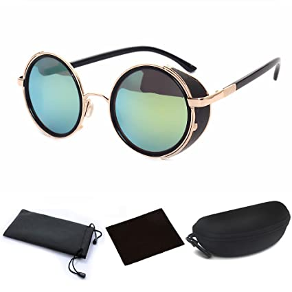 85e33e2cab9 Amazon.com  Cyber Goggles Steampunk Sunglasses Vintage Retro Mirror lens Round  Glasses Golden Frame Green Reflective Lens + Hard Protective Eyeglasses  Case  ...