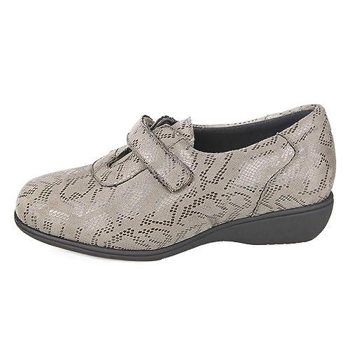 Zapatos Mujer para Plantillas extraibles Color Taupe con Lycra Ancho Especial con Cierre con Velcro para