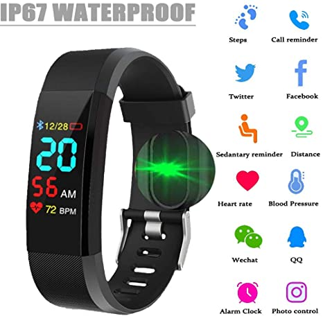 ONDY M5 Fitness Tracker Smart Watch, IP67 Waterproof Heart Rate Monitor, Message Reminder, Smart Bracelet with Pedometer Compatible with Android iOS