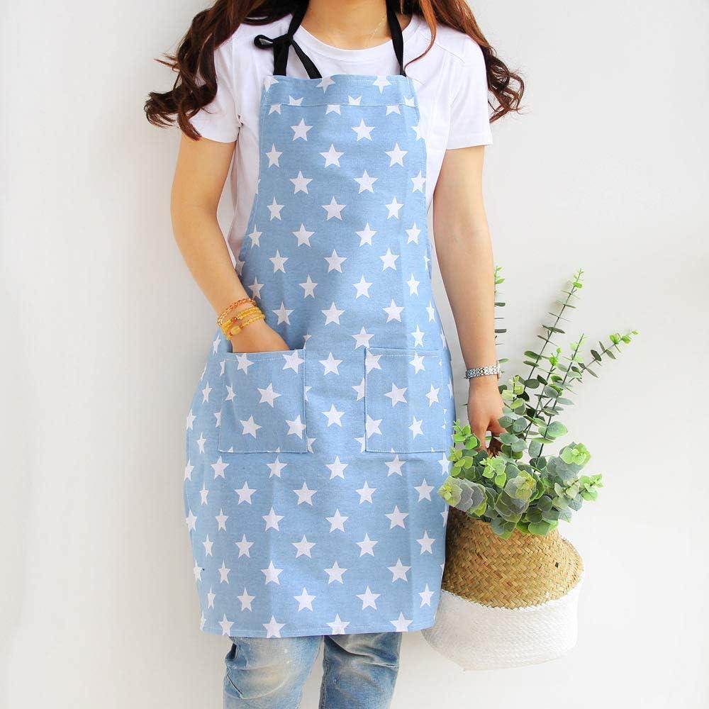 Parrilla y Hornear para cocinar de algod/ón y Lona Dusenly Delantal de Mujer con Dos Bolsillos cocinar dise/ño de Estrellas