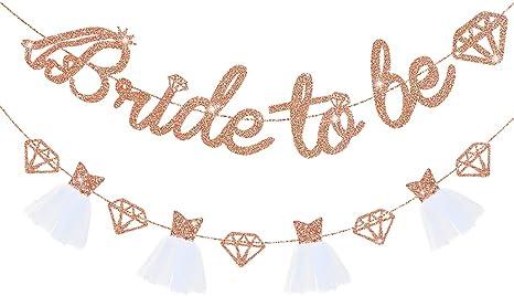 Bachelorette Party Decorations Rose Pink Glittery Bride to Be Banner Bride To Be Banner Bridal Shower Decorations