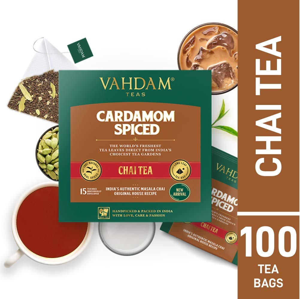 Garden Fresh BLACK TEA | Cardamom Tea | Masala Chai Tea Bags 100 Count | Brews Chai Tea Latte