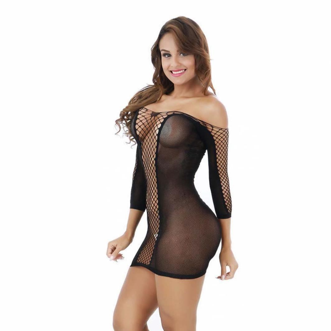 Women's Lingerie Women Sexy Lace Fishnet Lingerie Sexy Mini Half Sleeves Dress by Neartime