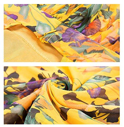 Evening Mangas Swing Sling L Largo Slip Beach Estampado Floral Green Vestido Sexy Fiesta Verano Vestido Sin Bohemia Moda De Beach Mujeres zqwZx6Apx