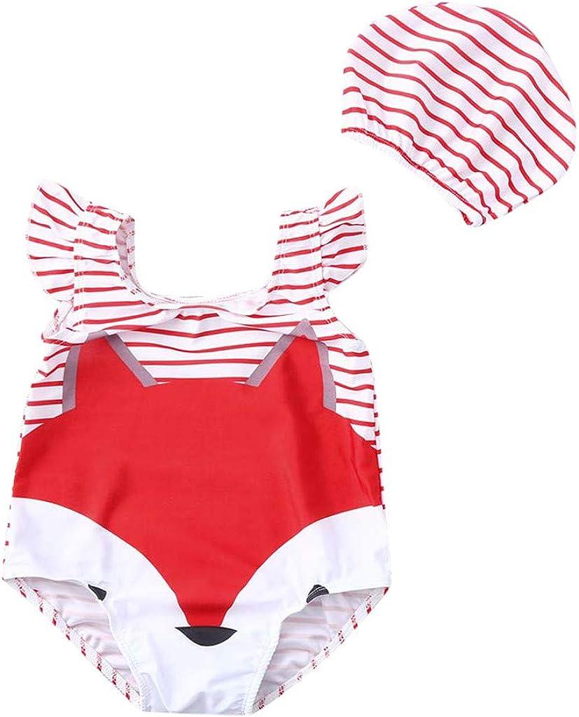 Cute Girls Swimwear Girl Beach Romper Fartido Cartoon Fox Print Swimsuit Swimsuit Swimming Cap