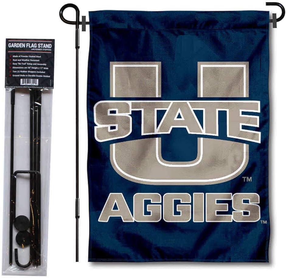 Utah State University Garden Flag and USA Flag Stand Pole Holder Set