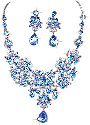 Pink Crystal Diamante Crystal Necklace Earring Jewelry Prom Ladies Gift Set