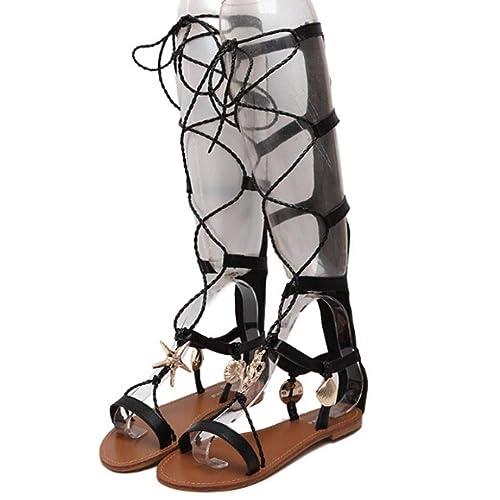 702210e6c5f Hunputa Women s Knee High Lace up Gladiator Sandals Flat Heel Roman Boot  Shoes 38(US