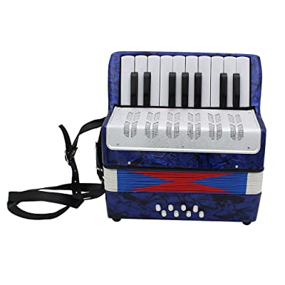 Accordion,Mini Accordion,Small 17-Key 8 Bass Educational Musical Instrument Toy for Kids Children Amateur Beginner Christmas Gift (Dark Blue): Musical Instruments