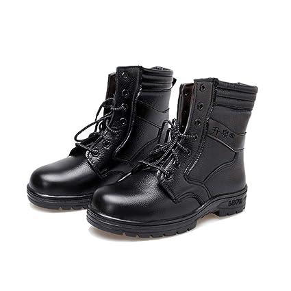 Adong Hombres Negro Zapatos de Seguridad de Alta Ayuda Impermeable Wear Resistente al Tobillo Botas de