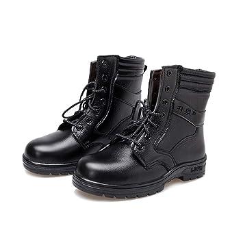 Adong Hombres Negro Zapatos de Seguridad de Alta Ayuda Impermeable Wear Resistente al Tobillo Botas de Trabajo de Seguro Laboral Botas para Trabajadores de ...