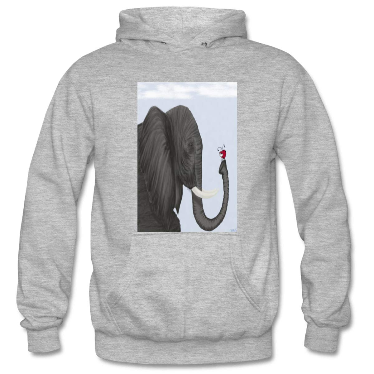 Mens Bertha The Elephant And Her Visitor Hooded Sweatshirt Funny Printed Pullover Hoodies Classic Long Sleeve T Shirt