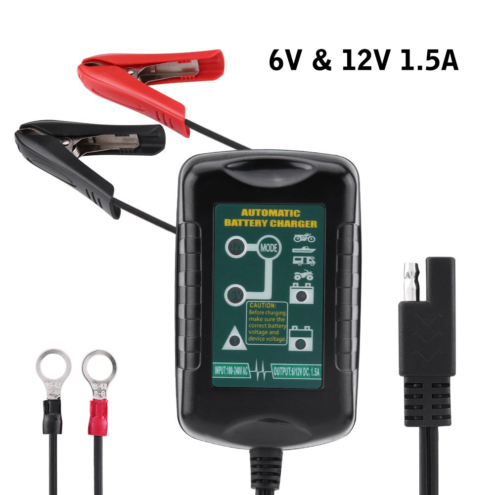 6V/12V 1.5A Automatic Battery Charger, Keenso Car Battery Maintainer Auto Vehicle Lead Acid Batteries for Automotive Motorcycle Lawn Mower Marine RV SLA ATV AGM Gel Cell Lead Acid Batteries, US Plug