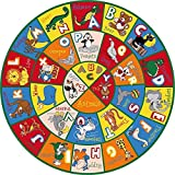 PRO RUGS 8 FEET X 8 FEET ROUND KIDS EDUCATIONAL / PLAYTIME NONSLIP AREA RUG (ALPHABET ANIMALS)