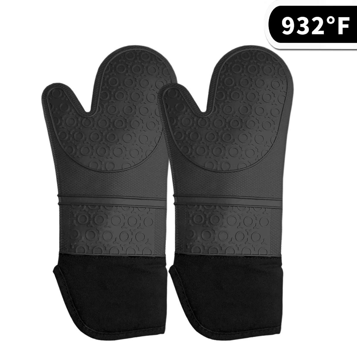Mosteck Silicone Oven Mitts Cooking Gloves - Oven mitt with Quilted Cotton Lining Kitchen Gloves,Heat Resistant up to 500 F BBQ Oven Gloves for Potholders,Cooking Baking,Grilling,Barbecue (Black)