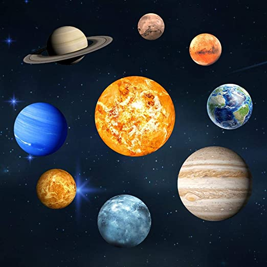 Esplic Planetas Pegatinas de Pared, Luminoso 9 Planetas Patrón del ...