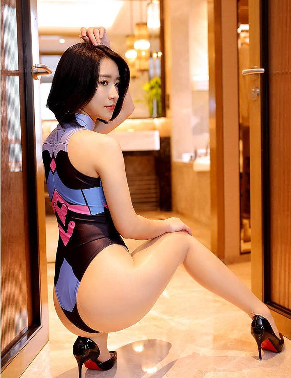 Lucky2Buy Womens Cute D.va Cosplay High Cut Leotard Lingerie One-Piece Bodysuit Teddy