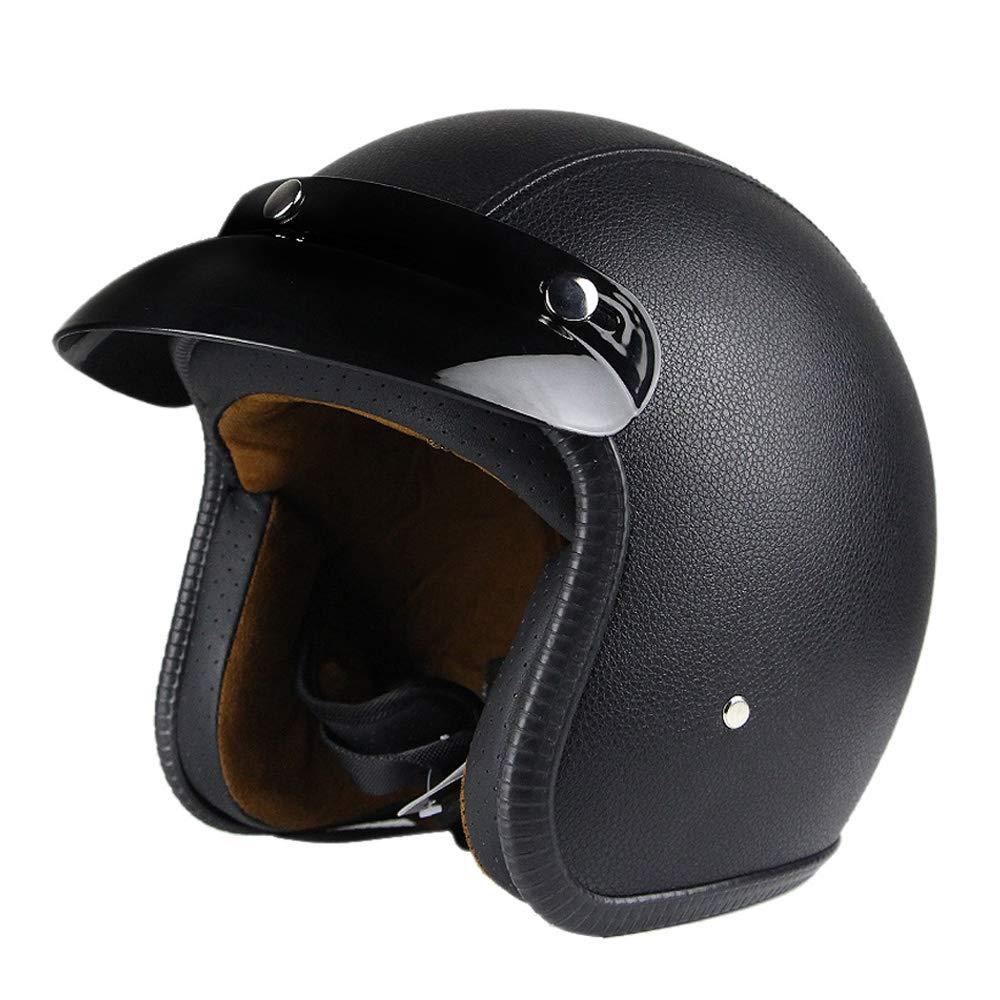 Woljay 3//4 Open Face Helm Leder Helmet Motorrad-Helm Jet-Helm Scooter-Helm Vespa-Helm Halbhelme Motorrad Helm Flat Schwarz XL