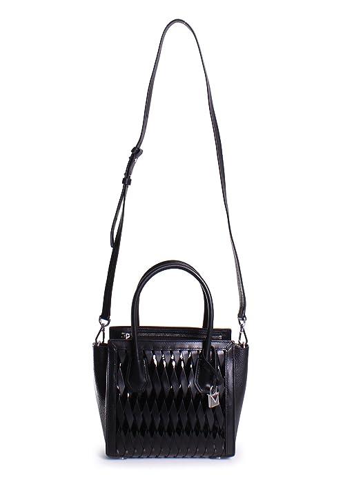 9207dbe6afdf Michael Michael Kors Mercer Studio Patent Leather Medium Woven Messenger  Handbag in Black  Handbags  Amazon.com