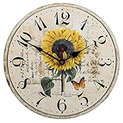 SkyNature Wood Wall Clock, Vintage Rustic Colorful Retro Style Arabic Numerals Design Non -Ticking Silent Quiet Wooden Clock Gift Home Large Decorative for Room Wall Art Decor (12 inch, sunflower)