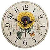 Wood Wall Clock, SkyNature Vintage Rustic Colorful Retro Style Arabic Numerals Design Non -Ticking Silent Quiet Wooden Clock Gift Home Large Decorative for Room Wall Art Decor (12 inch, sunflower)