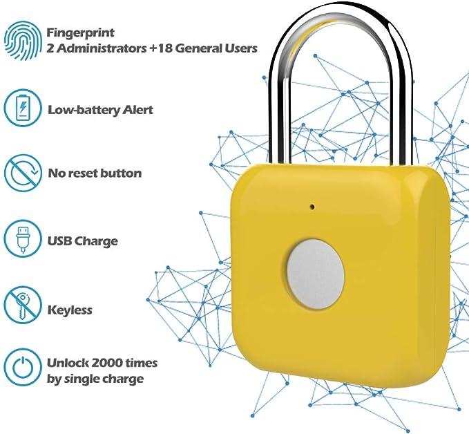 impermeable USB cargable cierre de cable de acero sin llave antirrobo eLinkSmart apertura por huella digital o control remoto a trav/és de la aplicaci/ón del tel/éfono Candado para bicicleta