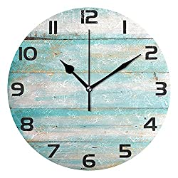 WellLee Vintage Beach Wood Clock Acrylic Painted Silent Non-Ticking Round Wall Clock Home Art Bedroom Living Dorm Room Decor