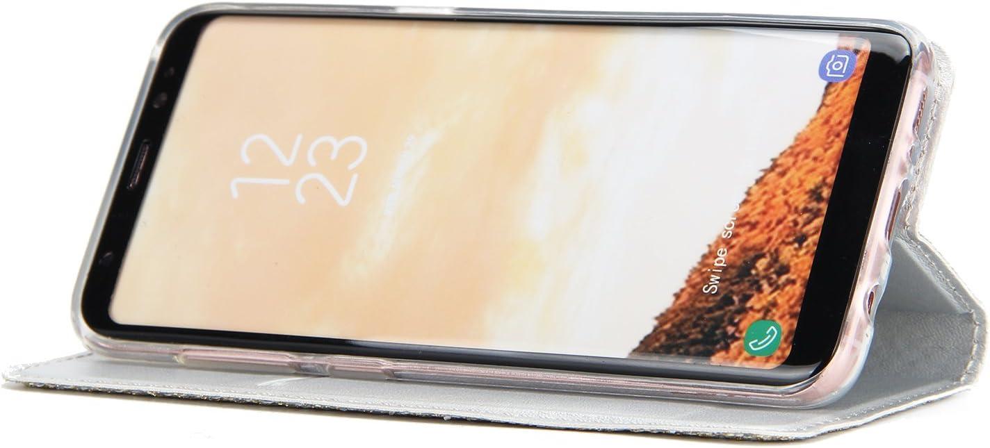 Karomenic PU Cuir Coque Compatible avec Samsung Galaxy S8 Paillette Strass Brillante Glitter Folio Housse Portefeuille TPU Silicone Fonction de Support Etui /à Rabat Wallet Flip Case Or