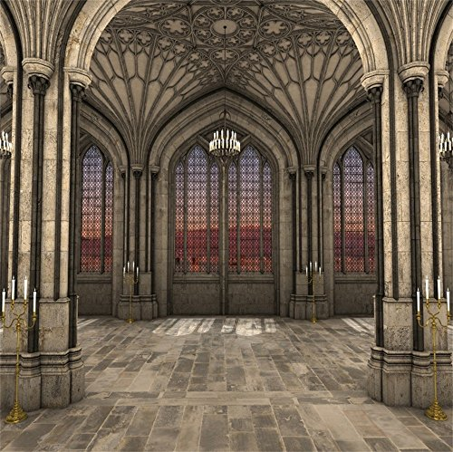 (LFEEY 10x10ft Gothic Cathedral Interior 3D Backdrop for Photography Lighting Candles Majestic Symmetrical View Ancient Arch Historical Building Pillar Background Photo Booth Props)