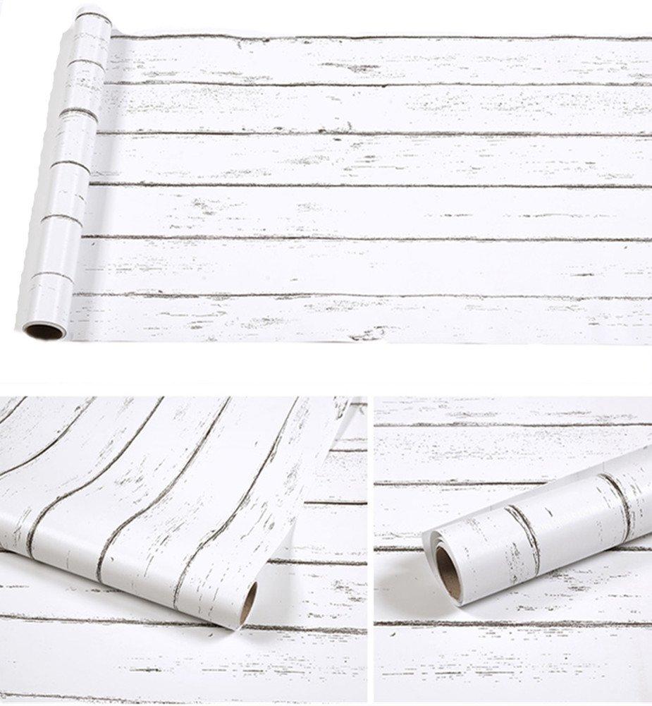Amao Vintage White Wood Panel Pattern Contact Paper Self-adhesive Peel-stick Wallpaper17.7''x78.7''