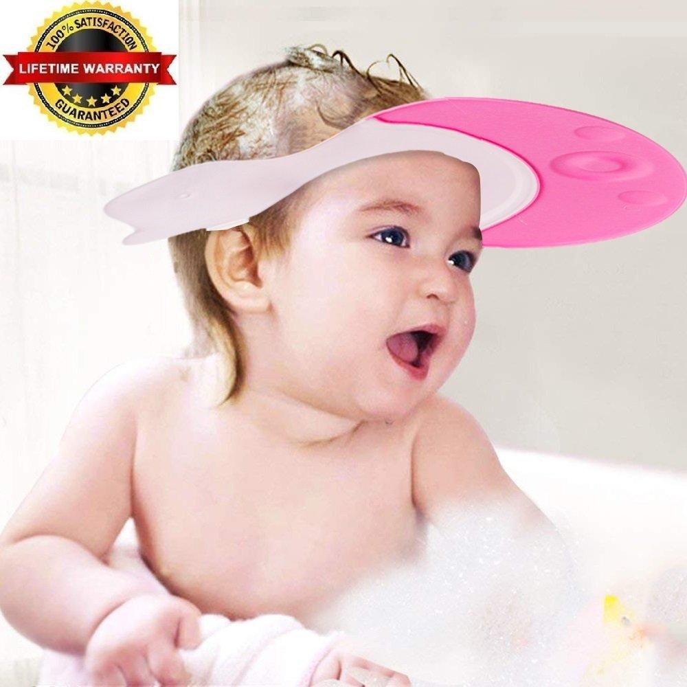 EZ-PZ Pink Baby Bath Visor Cap - Adjustable, Comfortable, Soft, Flexible, Snug, Waterproof & Elastic Ring Hat - for Shower, Bathtub, Sun Bathing, Hair Cutting, Pool, Beach, for Toddler Kid & Adult