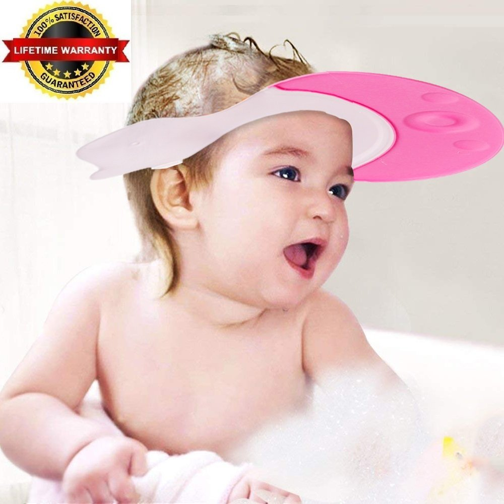 EZ-PZ Pink Baby Bath Visor Cap - Adjustable, Comfortable, Soft, Flexible, Snug, Waterproof & Elastic Ring Hat - for Shower, Bathtub, Sun Bathing, Hair Cutting, Pool, Beach, for Toddler Kid & Adult