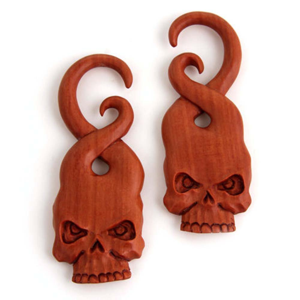Pair Organic Spiral Hanging Skull Shape skeleton Sawo Wood Ear Hook Plugs Gauges by JewelryVolt