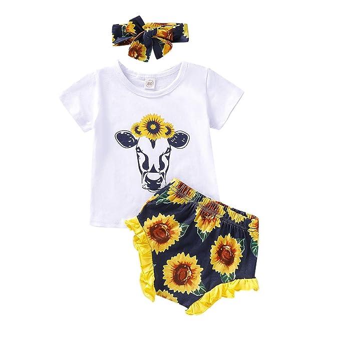 US Newborn Infant Baby Girl Sunflower Romper Tops Shorts 3PCS Outfits Sunsuit