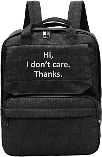 Hi I Dont Care Thanks-2 Ladys Backpacks Athletic Shoulder Bag