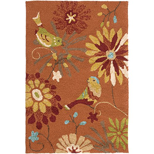 Rug Moss Area Round 8 - Surya Rain RAI-1104 Contemporary Hand Hooked 100% Polypropylene Moss 8' Round Floral Area Rug