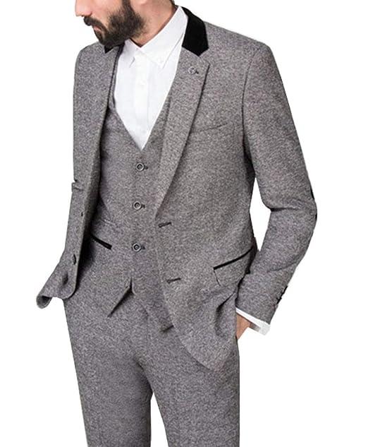 Amazon.com: Fitty Lell - Traje de lana para hombre, 3 piezas ...