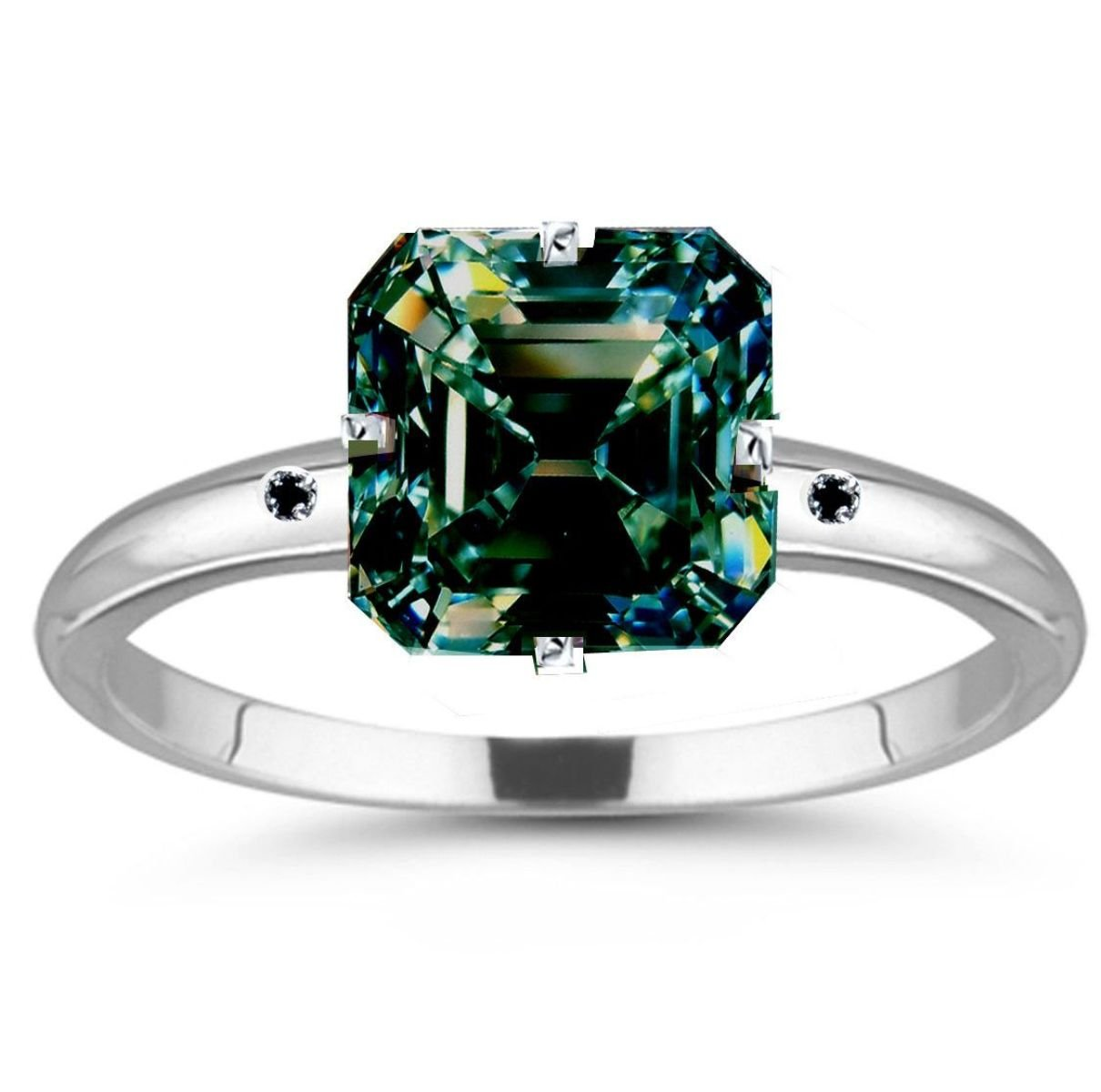 RINGJEWEL 13.30 ct SI2 Emerald Real Moissanite Engagement Silver Plated Ring Blue Green Color Size 7