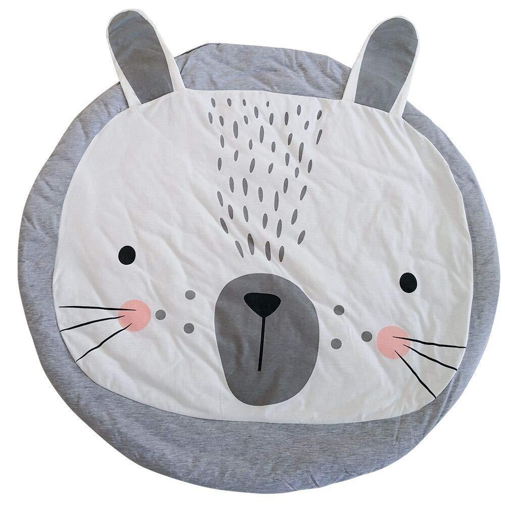 MMLsure® Kuschelige Hase Rund Krabbeldecke Gepolstert Spielmatte Teppich Kriechmatte Baumwolle Kinderteppich Babyzimmer Groß Dekoration,95 cm (Grau)