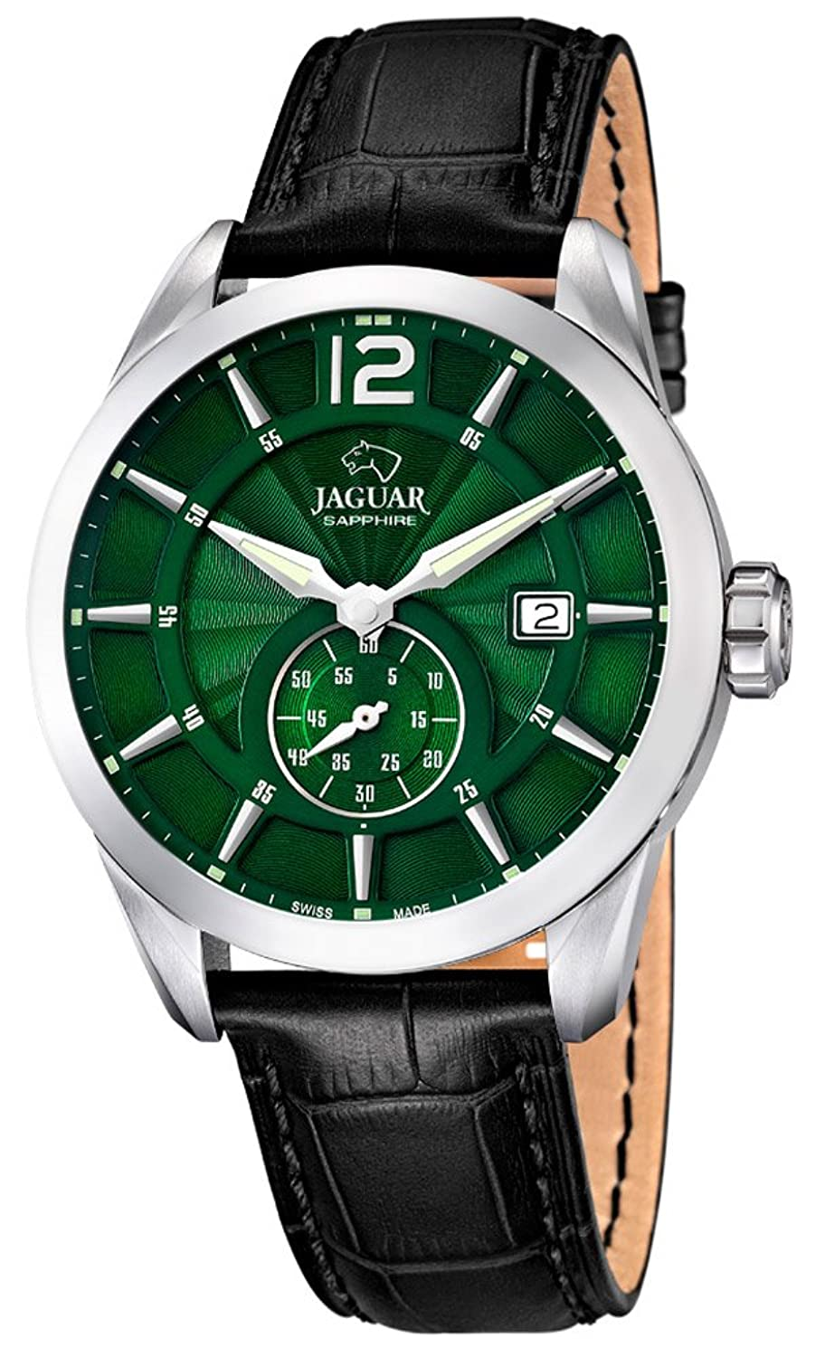 JAGUAR SWISS MADE Herrenuhr Armbanduhr Lederband Analog Quarzuhr J663 - Farbe:grÜn