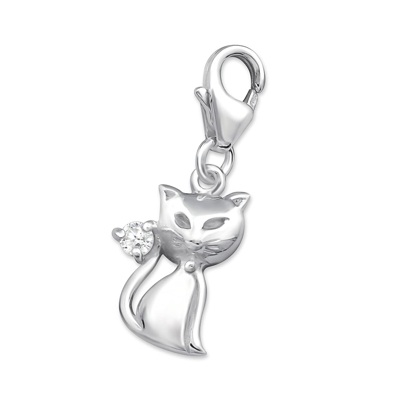 Laimons Damen-Charm Anhänger Katze mit Zirkonia Sterling Silber 925 OS048