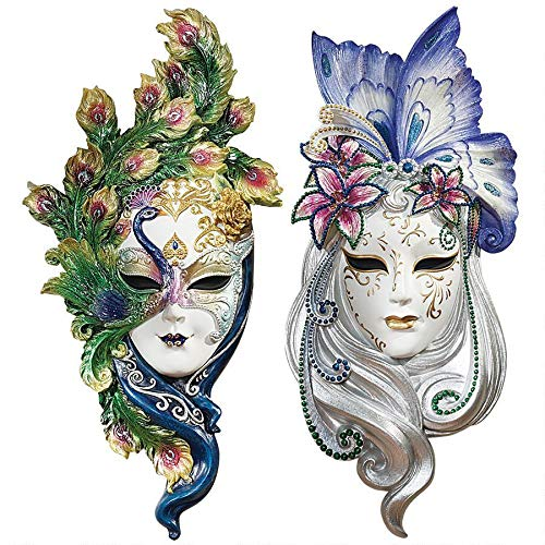 """Design Toscano Peacock Feathers and Butterfly Wings Masks of Venice Wall Sculptures Polyresin, Set of 2, 13"""", Full Color"""