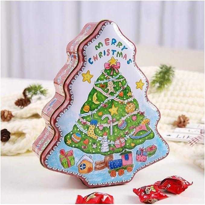 CARRYKT Forma de árbol de Navidad Tarro Sellado de estaño Joyería ...