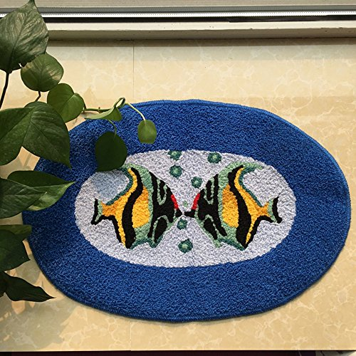 Ustide Ocean Fish Rug Handmade Rug Washable Bathroom Mat