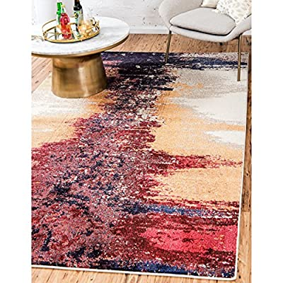 Unique Loom Estrella Collection Modern Abstract Orange Area Rug (3' 3 x 5' 3) - This rug is perfect for those high traffic areas in your home. It's also kid and pet friendly! This rug is water resistant, mold and mildew resistant, stain resistant, and does not shed. Cleaning Instructions: As long as it's a short-pile, indoor rug, we recommend spot cleaning with resolve, and regular vacuuming is recommended. You can use a carpet cleaner (shampooer) but it should be dried immediately and evenly. - living-room-soft-furnishings, living-room, area-rugs - 61D76uXxw1L. SS400  -